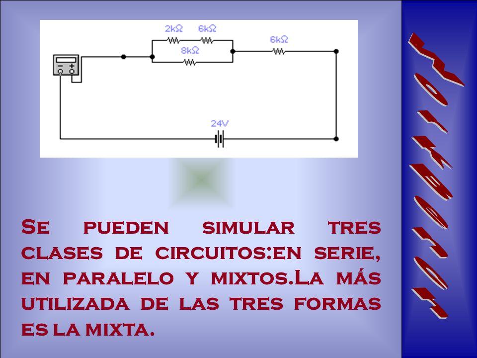 Se pueden simular tres clases de circuitos:en serie, en paralelo y mixtos.La más utilizada de las tres formas es la mixta.