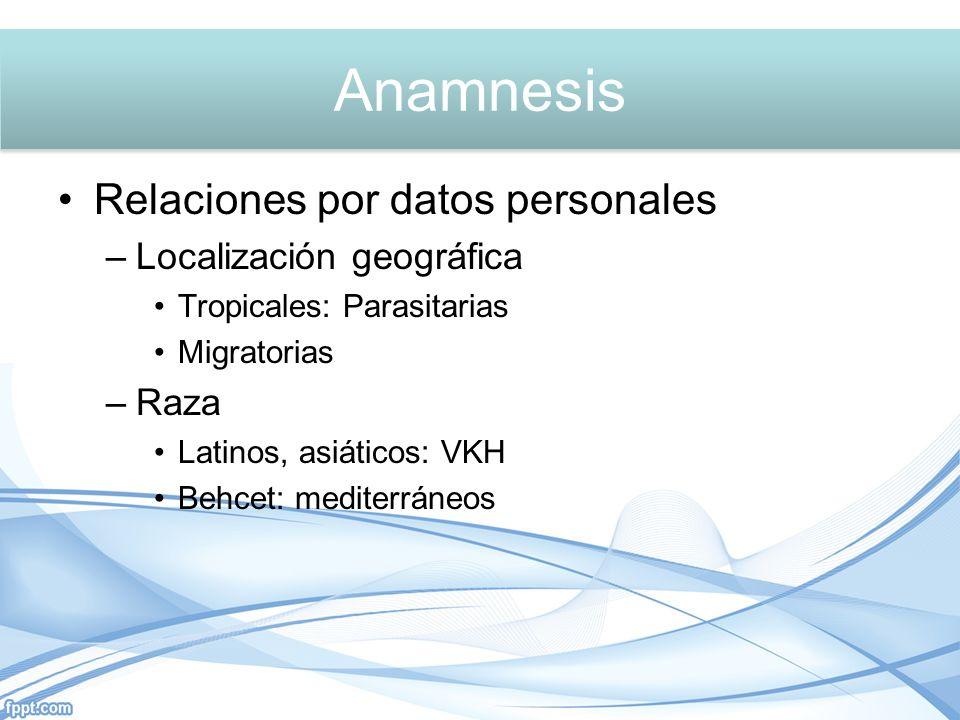 Relaciones por datos personales –Localización geográfica Tropicales: Parasitarias Migratorias –Raza Latinos, asiáticos: VKH Behcet: mediterráneos Anamnesis