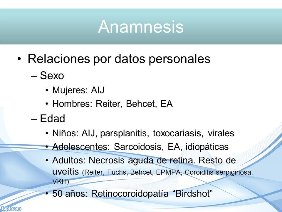 Anamnesis Relaciones por datos personales –Sexo Mujeres: AIJ Hombres: Reiter, Behcet, EA –Edad Niños: AIJ, parsplanitis, toxocariasis, virales Adolescentes: Sarcoidosis, EA, idiopáticas Adultos: Necrosis aguda de retina.