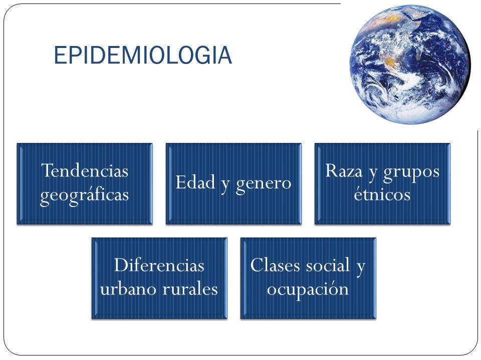 EPIDEMIOLOGIA Tendencias geográficas Edad y genero Raza y grupos étnicos Diferencias urbano rurales Clases social y ocupación
