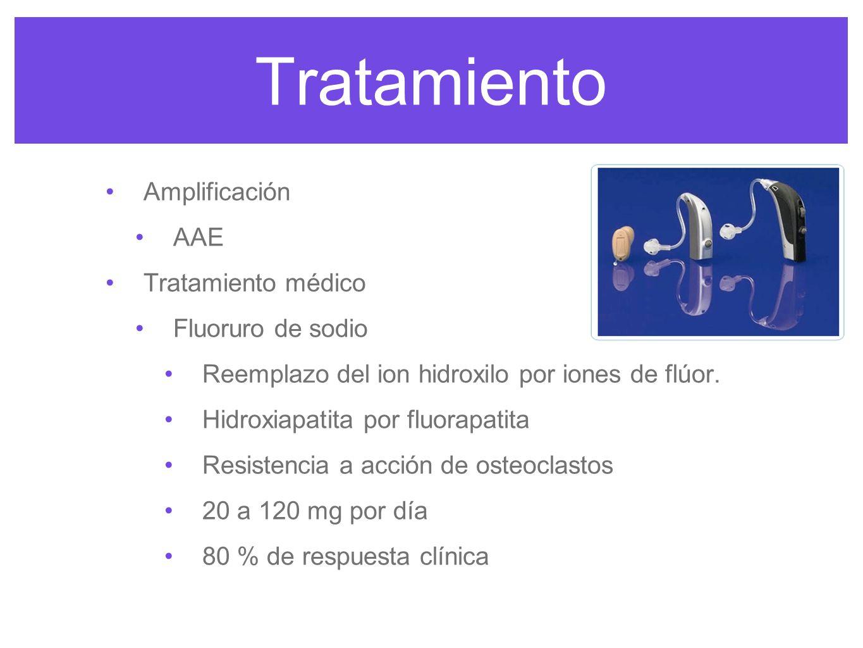 Tratamiento Amplificación AAE Tratamiento médico Fluoruro de sodio Reemplazo del ion hidroxilo por iones de flúor. Hidroxiapatita por fluorapatita Res