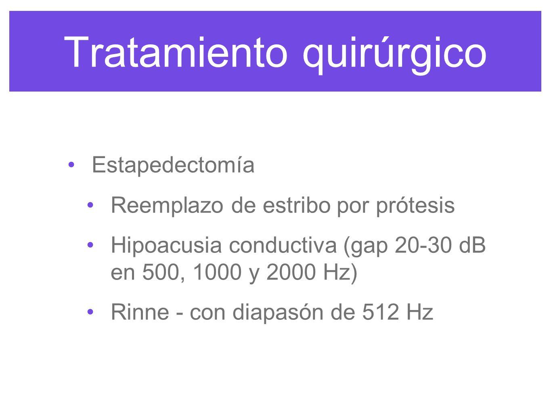 Tratamiento quirúrgico Estapedectomía Reemplazo de estribo por prótesis Hipoacusia conductiva (gap 20-30 dB en 500, 1000 y 2000 Hz) Rinne - con diapasón de 512 Hz
