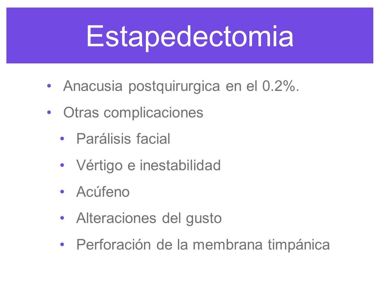Estapedectomia Anacusia postquirurgica en el 0.2%. Otras complicaciones Parálisis facial Vértigo e inestabilidad Acúfeno Alteraciones del gusto Perfor