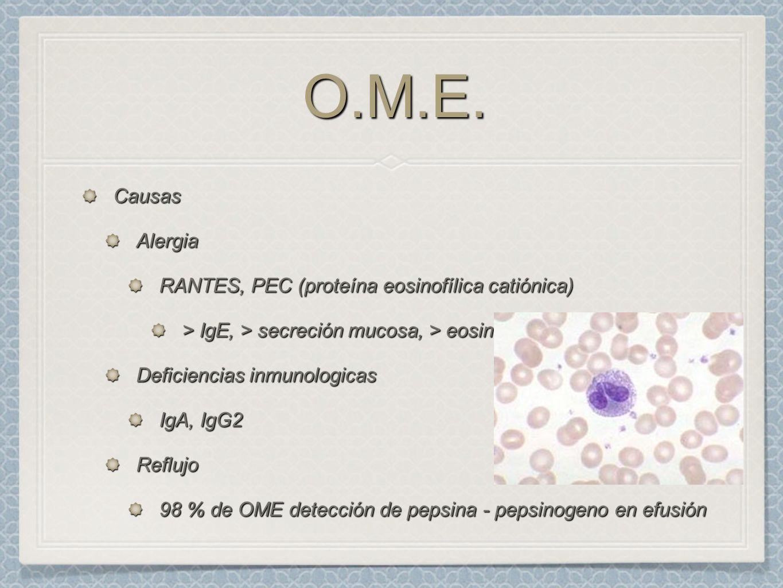 O.M.E.O.M.E. CausasAlergia RANTES, PEC (proteína eosinofílica catiónica) > IgE, > secreción mucosa, > eosinofilos Deficiencias inmunologicas IgA, IgG2