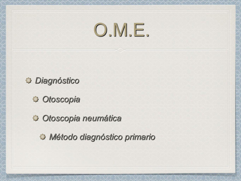 O.M.E.O.M.E. DiagnósticoOtoscopia Otoscopia neumática Método diagnóstico primario