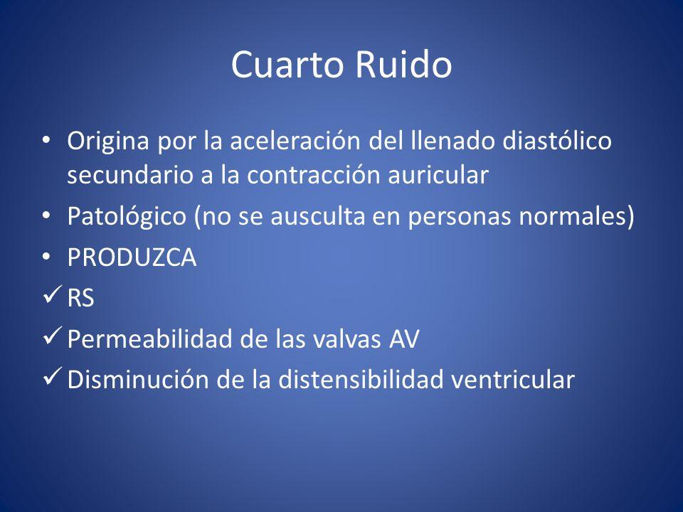Cuarto Ruido Origina por la aceleración del llenado diastólico secundario a la contracción auricular Patológico (no se ausculta en personas normales) PRODUZCA RS Permeabilidad de las valvas AV Disminución de la distensibilidad ventricular