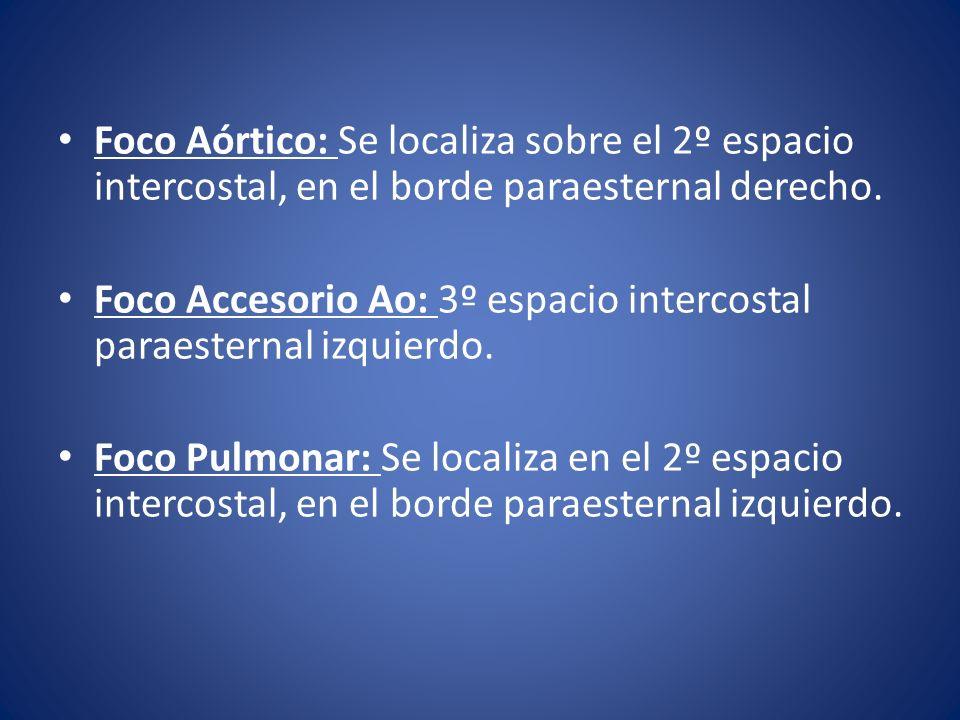 Foco Aórtico: Se localiza sobre el 2º espacio intercostal, en el borde paraesternal derecho. Foco Accesorio Ao: 3º espacio intercostal paraesternal iz