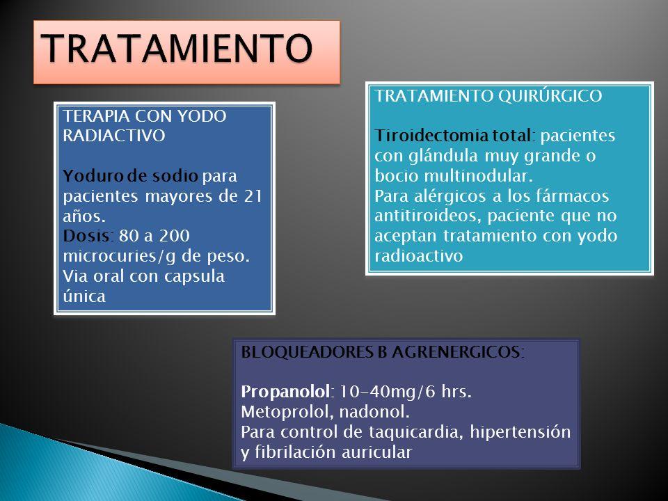 TERAPIA CON YODO RADIACTIVO Yoduro de sodio para pacientes mayores de 21 años. Dosis: 80 a 200 microcuries/g de peso. Via oral con capsula única TERAP