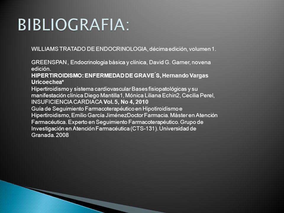 WILLIAMS TRATADO DE ENDOCRINOLOGIA, décima edición, volumen 1. GREENSPAN, Endocrinología básica y clínica, David G. Garner, novena edición. HIPERTIROI