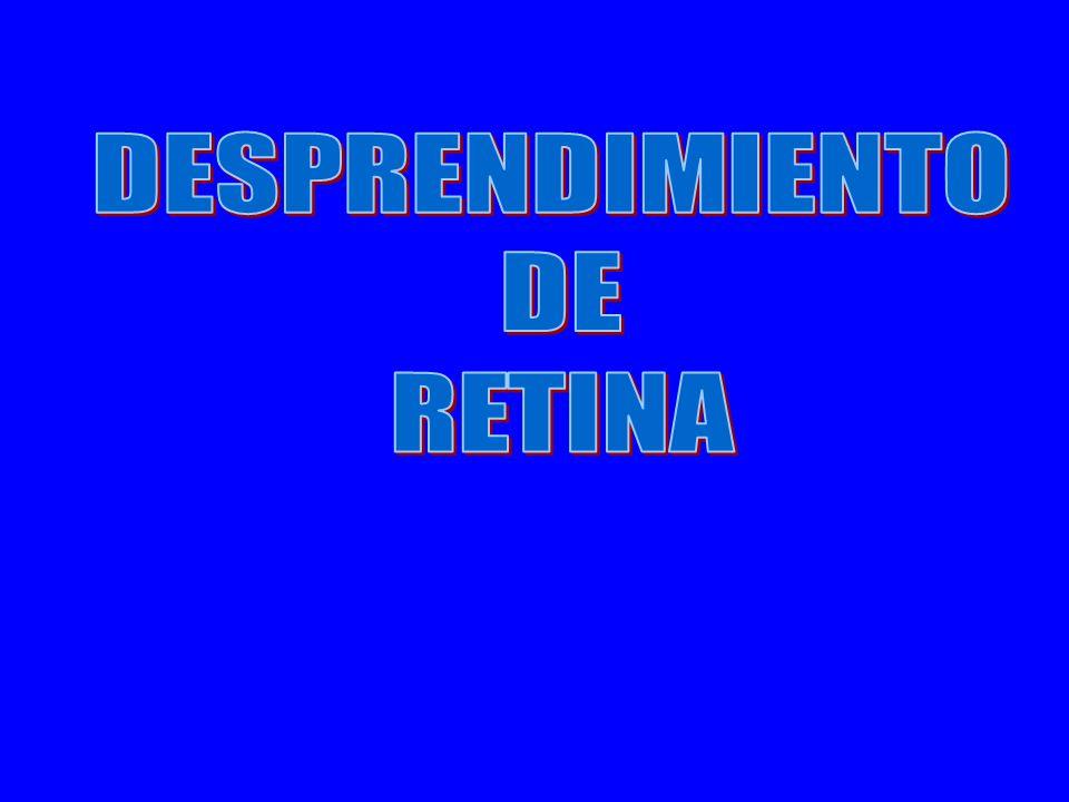 Desprendimiento de retina Es la separación de la retina neurosensorial de su lecho del epitelio pigmentario y coroides