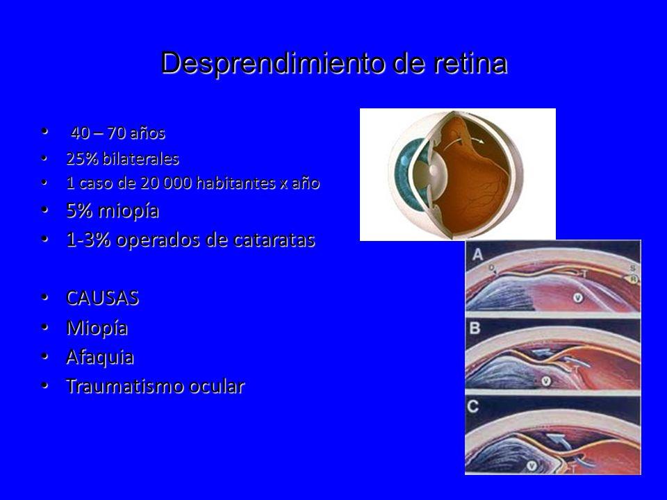 Desprendimiento de retina 40 – 70 años 40 – 70 años 25% bilaterales 25% bilaterales 1 caso de 20 000 habitantes x año 1 caso de 20 000 habitantes x añ