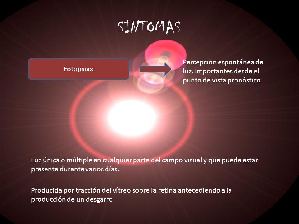 SINTOMAS Fotopsias Percepción espontánea de luz. Importantes desde el punto de vista pronóstico Luz única o múltiple en cualquier parte del campo visu