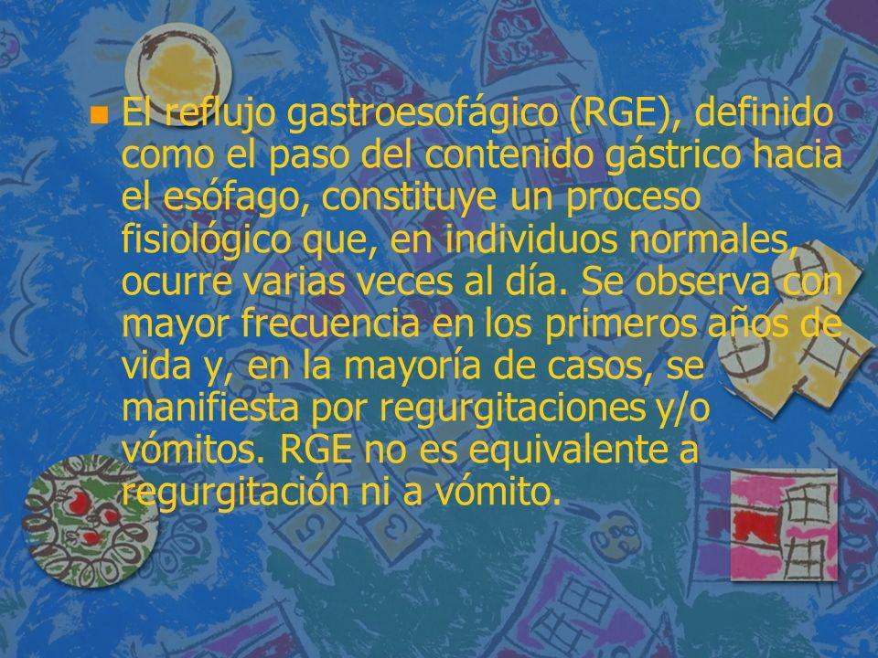 n n El reflujo gastroesofágico (RGE), definido como el paso del contenido gástrico hacia el esófago, constituye un proceso fisiológico que, en individuos normales, ocurre varias veces al día.