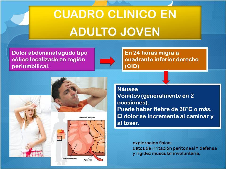 CUADRO CLINICO EN ADULTO JOVEN Náusea Vómitos (generalmente en 2 ocasiones). Puede haber fiebre de 38°C o más. El dolor se incrementa al caminar y al