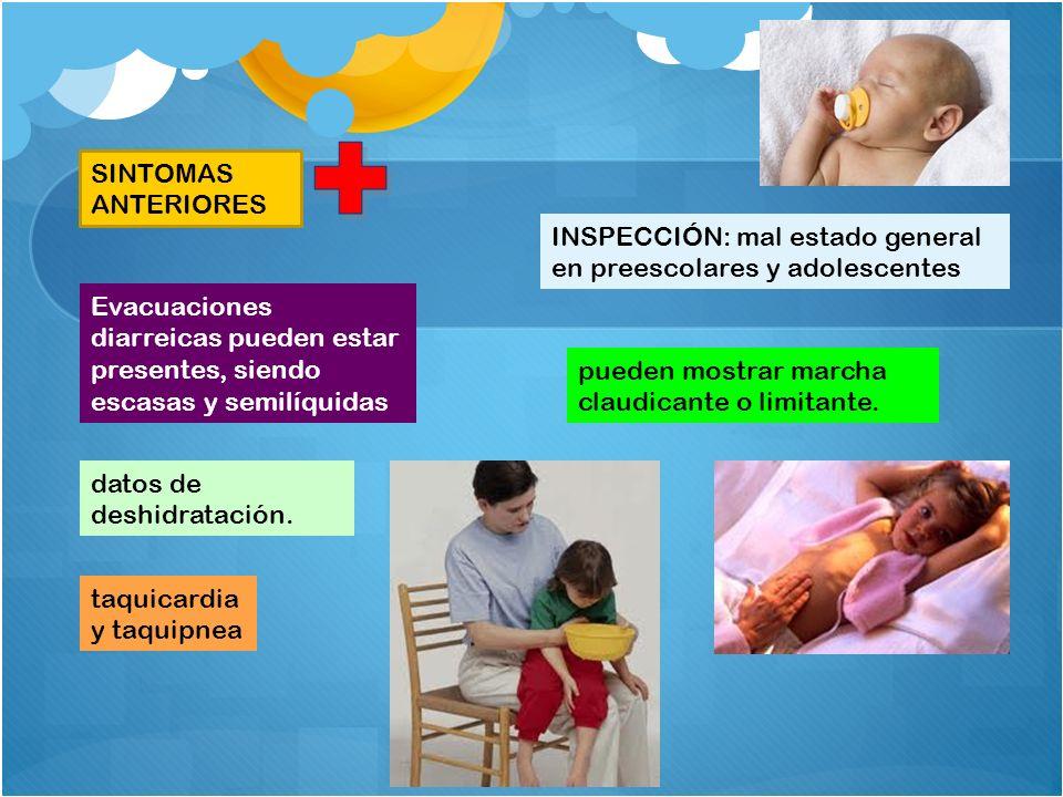 INSPECCIÓN: mal estado general en preescolares y adolescentes SINTOMAS ANTERIORES Evacuaciones diarreicas pueden estar presentes, siendo escasas y sem