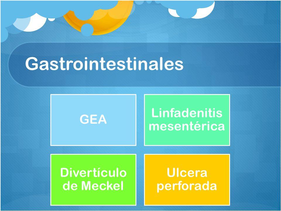 Gastrointestinales GEA Linfadenitis mesentérica Divertículo de Meckel Ulcera perforada