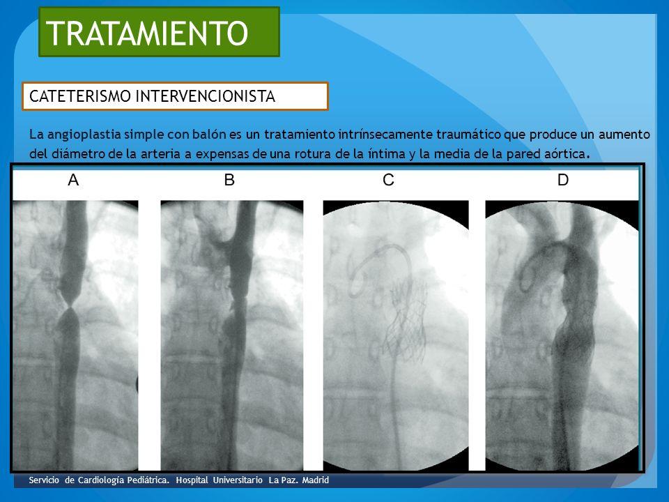 TRATAMIENTO CATETERISMO INTERVENCIONISTA La angioplastia simple con balón es un tratamiento intrínsecamente traumático que produce un aumento del diám