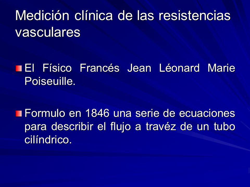 Medición clínica de las resistencias vasculares El Físico Francés Jean Léonard Marie Poiseuille. Formulo en 1846 una serie de ecuaciones para describi