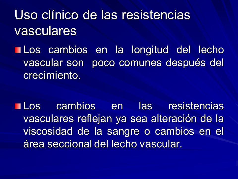 Uso clínico de las resistencias vasculares Los cambios en la longitud del lecho vascular son poco comunes después del crecimiento. Los cambios en las
