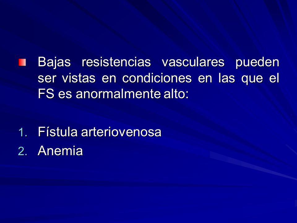 Bajas resistencias vasculares pueden ser vistas en condiciones en las que el FS es anormalmente alto: 1. Fístula arteriovenosa 2. Anemia