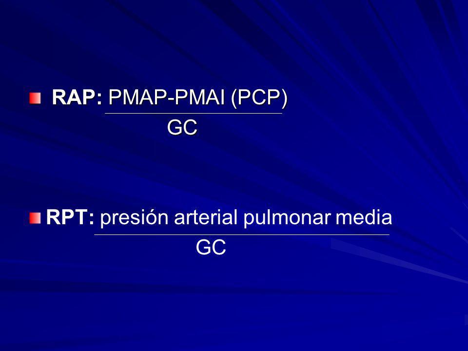 RAP: PMAP-PMAI (PCP) RAP: PMAP-PMAI (PCP) GC GC RPT: presión arterial pulmonar media GC