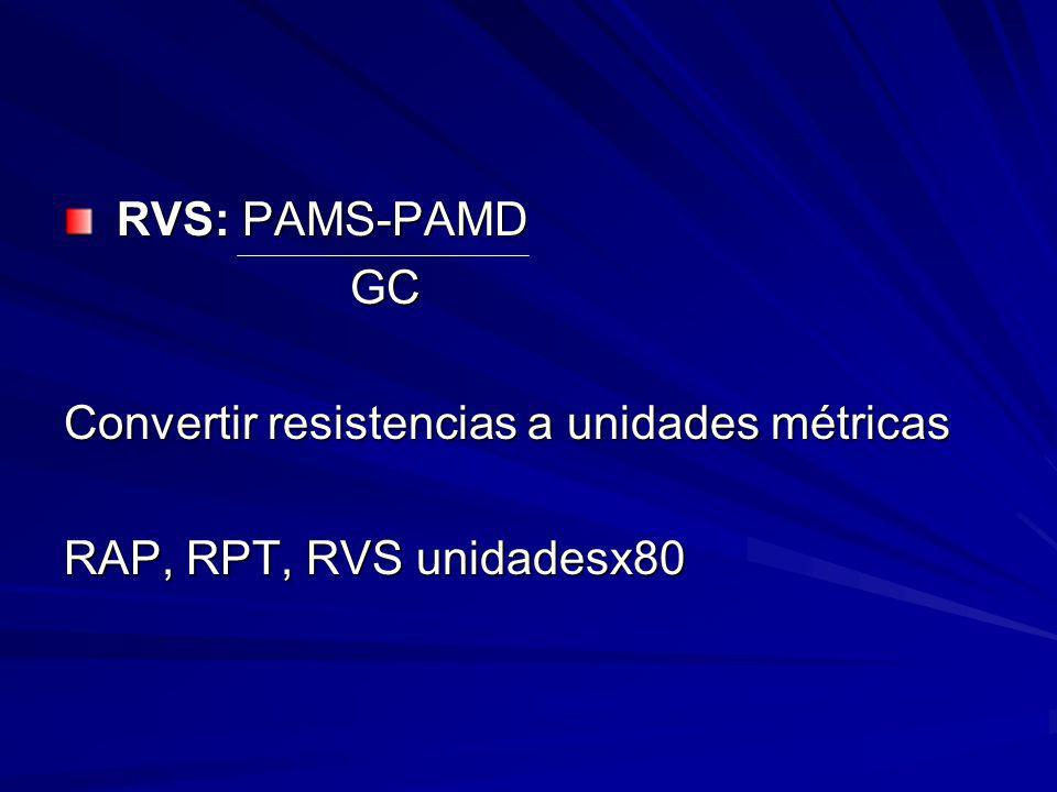 RVS: PAMS-PAMD RVS: PAMS-PAMD GC GC Convertir resistencias a unidades métricas RAP, RPT, RVS unidadesx80
