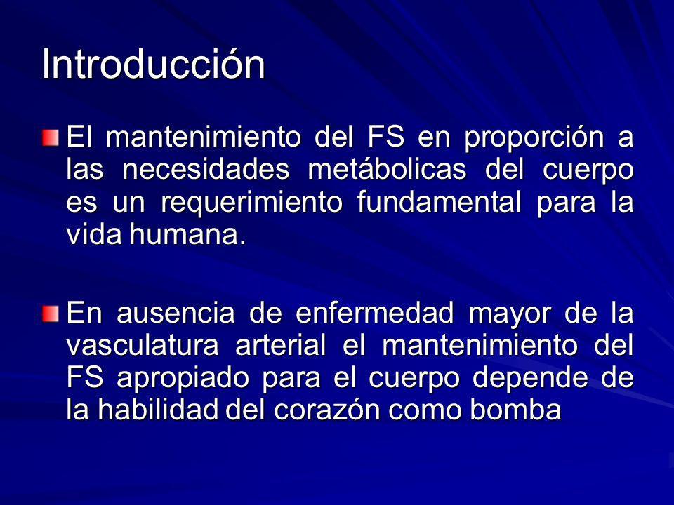 Introducción El mantenimiento del FS en proporción a las necesidades metábolicas del cuerpo es un requerimiento fundamental para la vida humana. En au