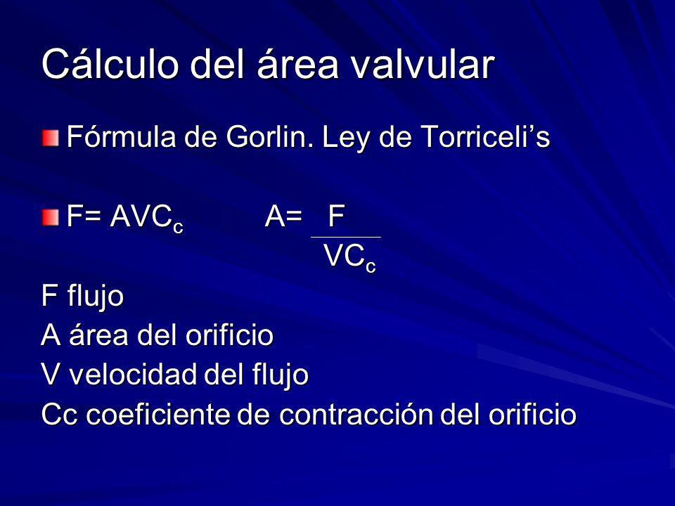 Cálculo del área valvular Fórmula de Gorlin. Ley de Torricelis F= AVC c A= F VC c VC c F flujo A área del orificio V velocidad del flujo Cc coeficient