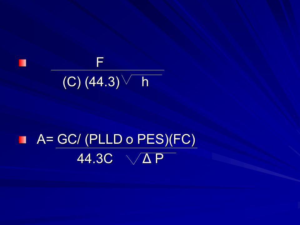 F (C) (44.3) h (C) (44.3) h A= GC/ (PLLD o PES)(FC) A= GC/ (PLLD o PES)(FC) 44.3C Δ P 44.3C Δ P