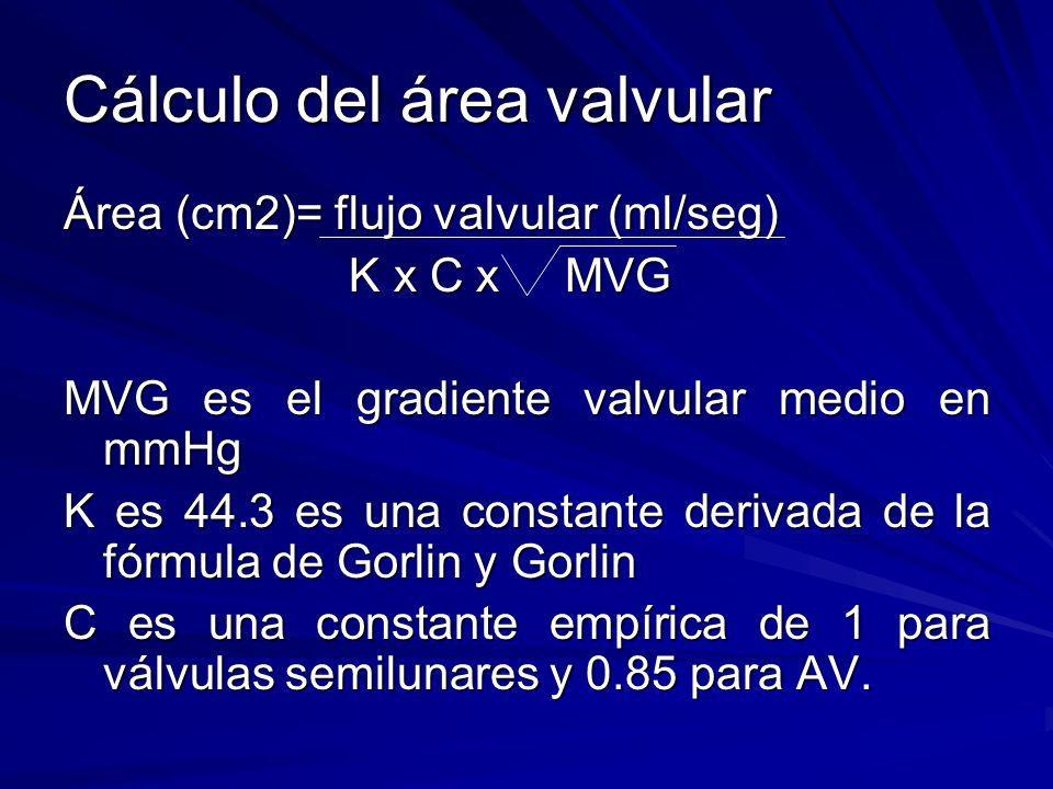 Cálculo del área valvular Área (cm2)= flujo valvular (ml/seg) K x C x MVG K x C x MVG MVG es el gradiente valvular medio en mmHg K es 44.3 es una cons