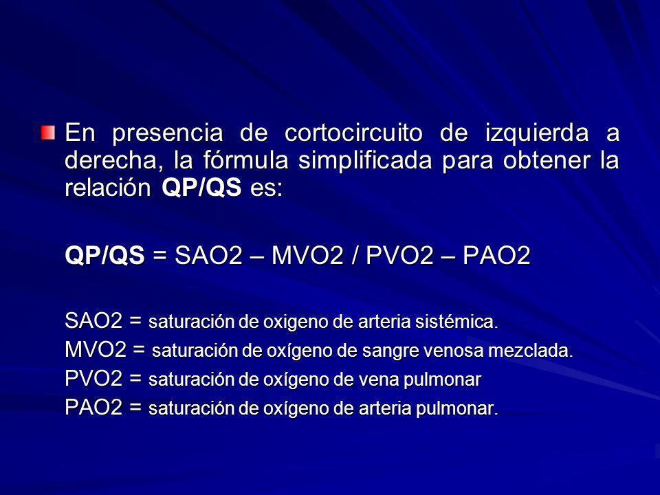 En presencia de cortocircuito de izquierda a derecha, la fórmula simplificada para obtener la relación QP/QS es: QP/QS = SAO2 – MVO2 / PVO2 – PAO2 SAO
