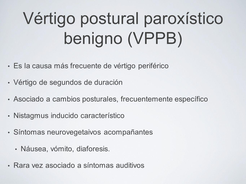 Vértigo postural paroxístico benigno (VPPB) Es la causa más frecuente de vértigo periférico Vértigo de segundos de duración Asociado a cambios postura