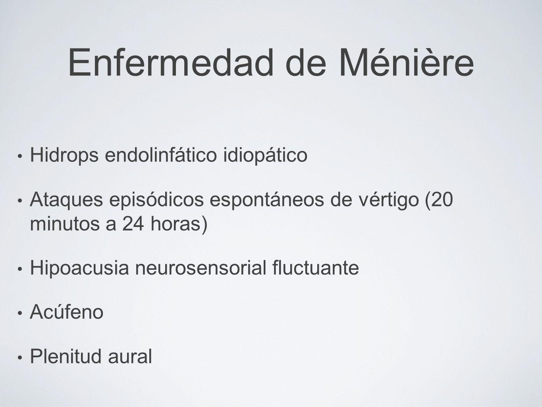 Enfermedad de Ménière Hidrops endolinfático idiopático Ataques episódicos espontáneos de vértigo (20 minutos a 24 horas) Hipoacusia neurosensorial flu