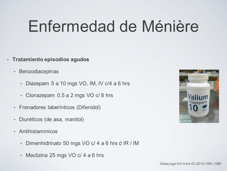 Enfermedad de Ménière Tratamiento episodios agudos Benzodiacepinas Diazepam 5 a 10 mgs VO, IM, IV c/4 a 6 hrs Clonazepam 0.5 a 2 mgs VO c/ 8 hrs Frena
