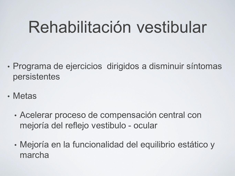 Rehabilitación vestibular Programa de ejercicios dirigidos a disminuir síntomas persistentes Metas Acelerar proceso de compensación central con mejorí