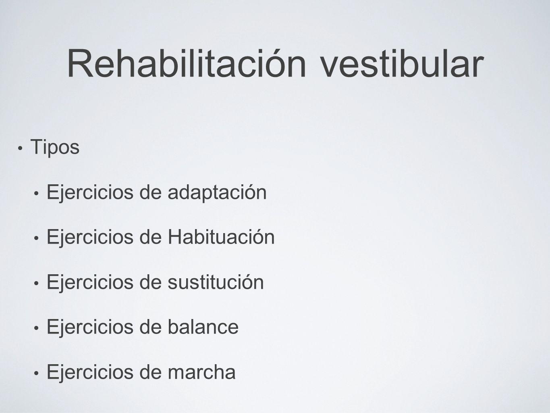 Rehabilitación vestibular Tipos Ejercicios de adaptación Ejercicios de Habituación Ejercicios de sustitución Ejercicios de balance Ejercicios de march
