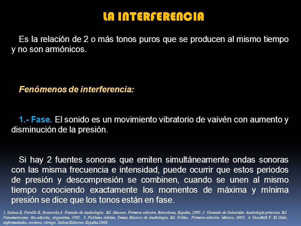 LA INTERFERENCIA Es la relación de 2 o más tonos puros que se producen al mismo tiempo y no son armónicos. Fenómenos de interferencia: 1.- Fase. El so