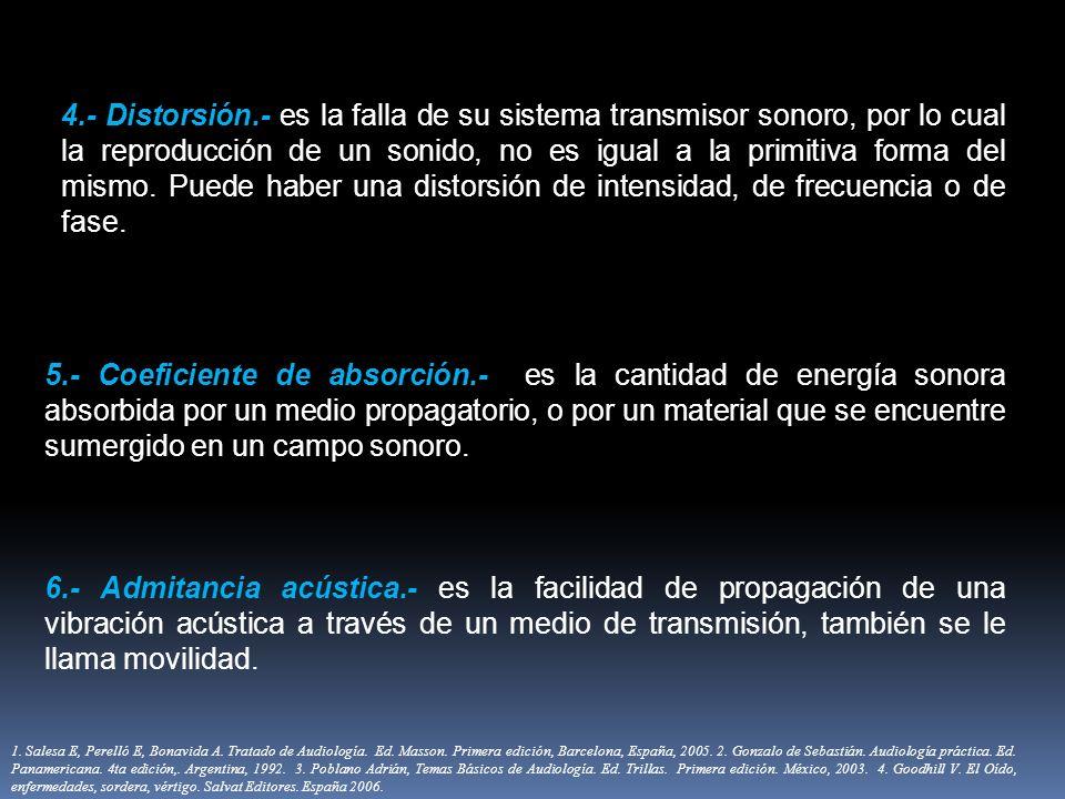 4.- Distorsión.- es la falla de su sistema transmisor sonoro, por lo cual la reproducción de un sonido, no es igual a la primitiva forma del mismo. Pu