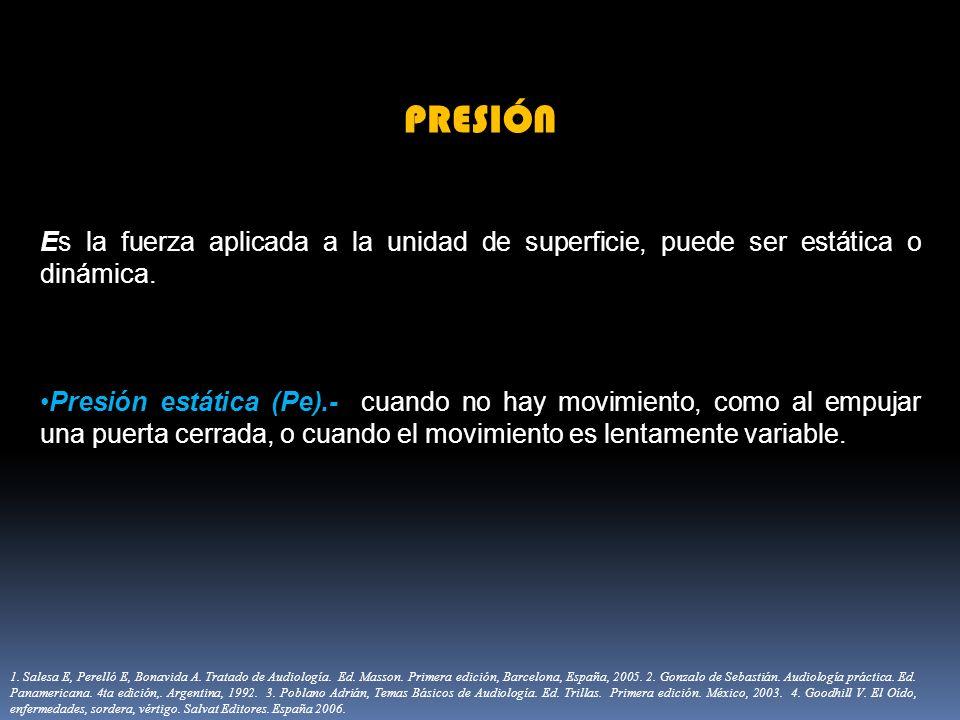 PRESIÓN Es la fuerza aplicada a la unidad de superficie, puede ser estática o dinámica. Presión estática (Pe).- cuando no hay movimiento, como al empu