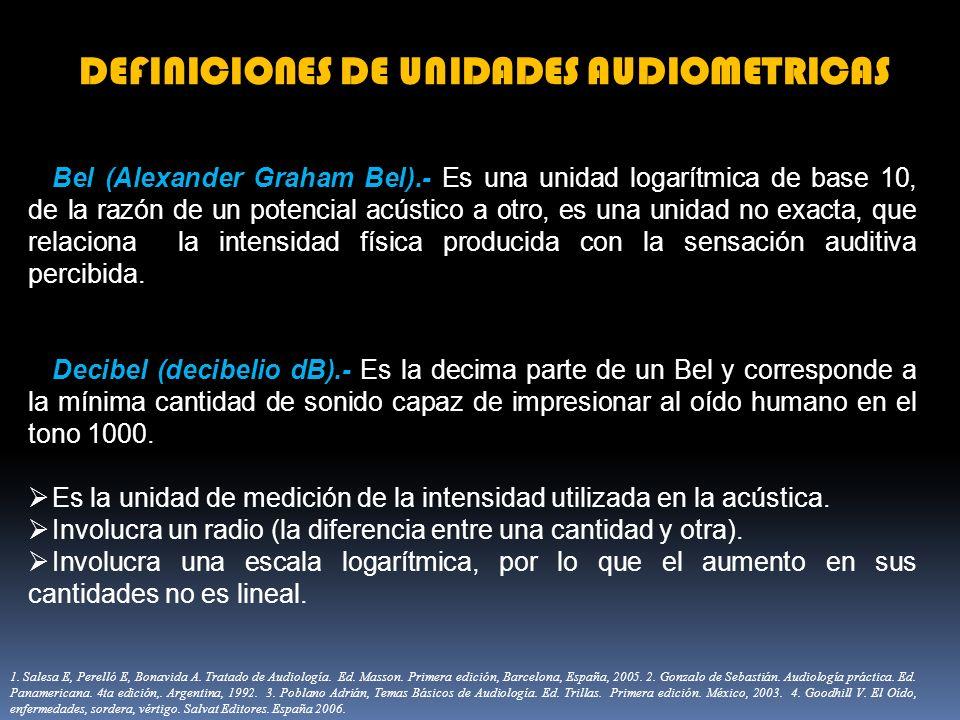 DEFINICIONES DE UNIDADES AUDIOMETRICAS Bel (Alexander Graham Bel).- Es una unidad logarítmica de base 10, de la razón de un potencial acústico a otro,