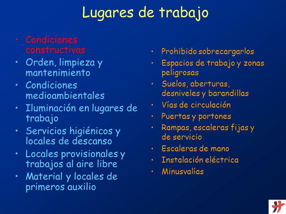 Lugares de trabajo Condiciones constructivas Orden, limpieza y mantenimiento Condiciones medioambientales Iluminación en lugares de trabajo Servicios