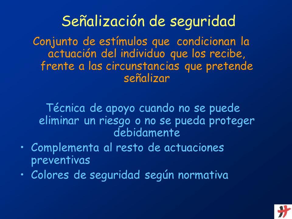Señalización de seguridad Conjunto de estímulos que condicionan la actuación del individuo que los recibe, frente a las circunstancias que pretende se