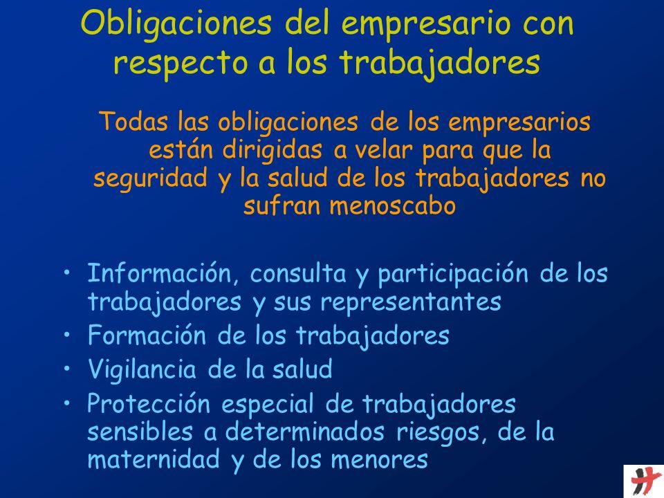 Obligaciones del empresario con respecto a los trabajadores Todas las obligaciones de los empresarios están dirigidas a velar para que la seguridad y