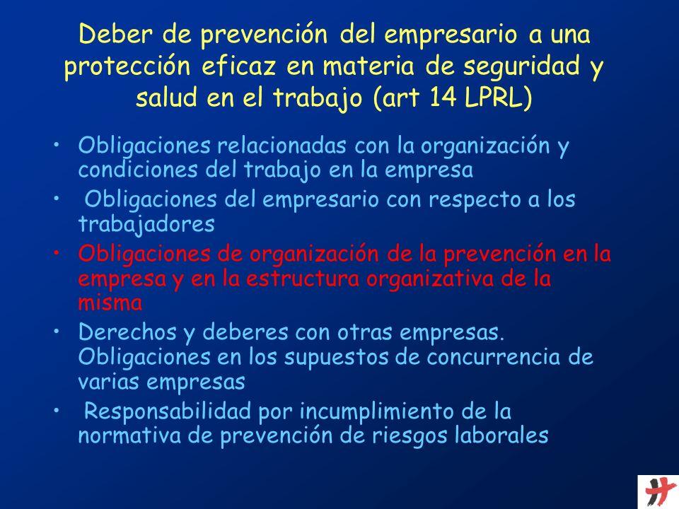 Deber de prevención del empresario a una protección eficaz en materia de seguridad y salud en el trabajo (art 14 LPRL) Obligaciones relacionadas con l