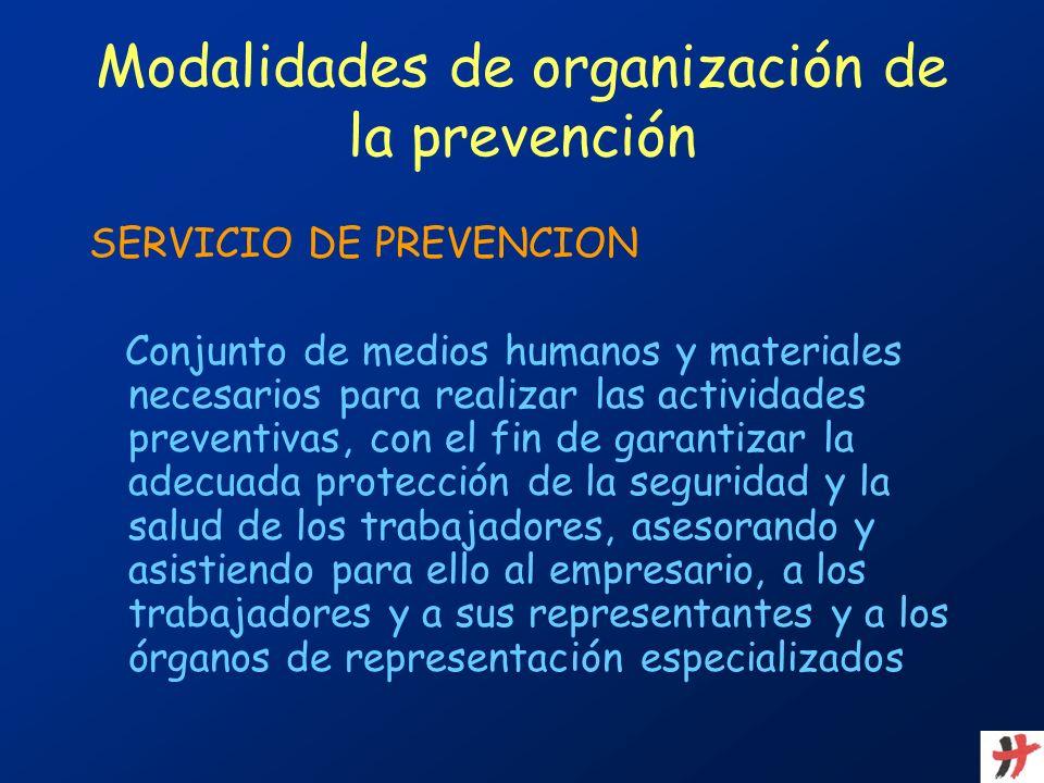 Modalidades de organización de la prevención SERVICIO DE PREVENCION Conjunto de medios humanos y materiales necesarios para realizar las actividades p