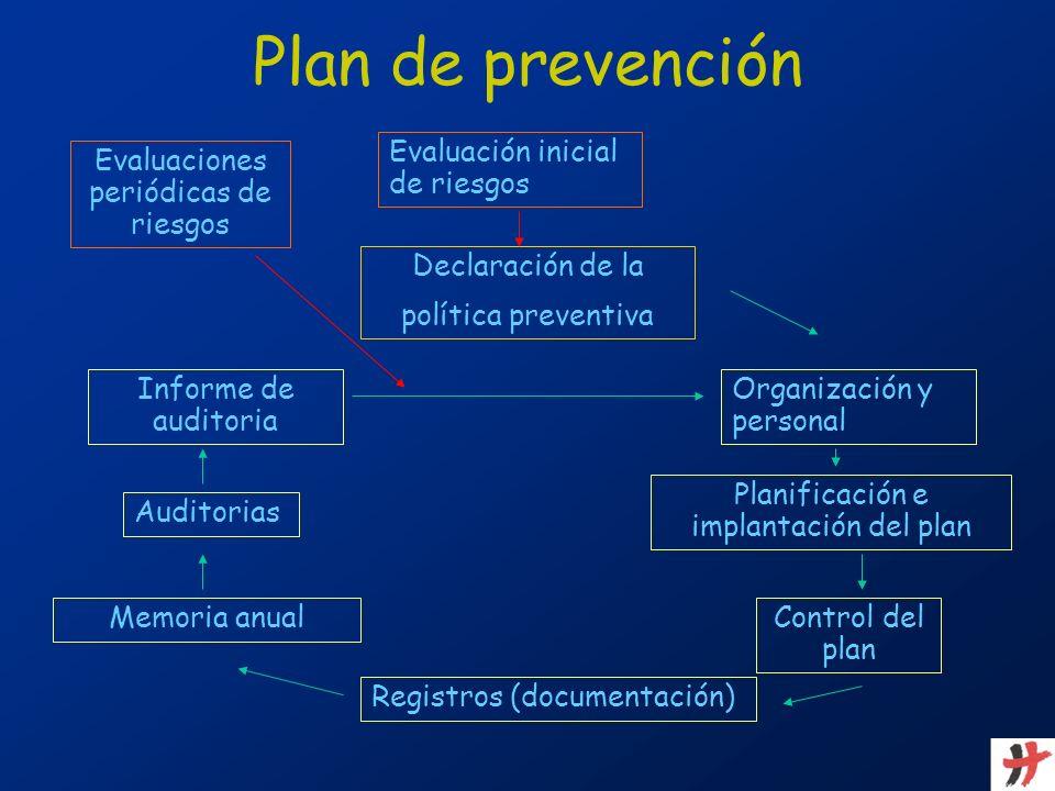 Plan de prevención Evaluación inicial de riesgos Declaración de la política preventiva Organización y personal Planificación e implantación del plan C