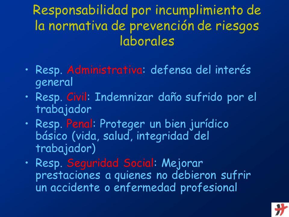 Resp. Administrativa: defensa del interés general Resp. Civil: Indemnizar daño sufrido por el trabajador Resp. Penal: Proteger un bien jurídico básico