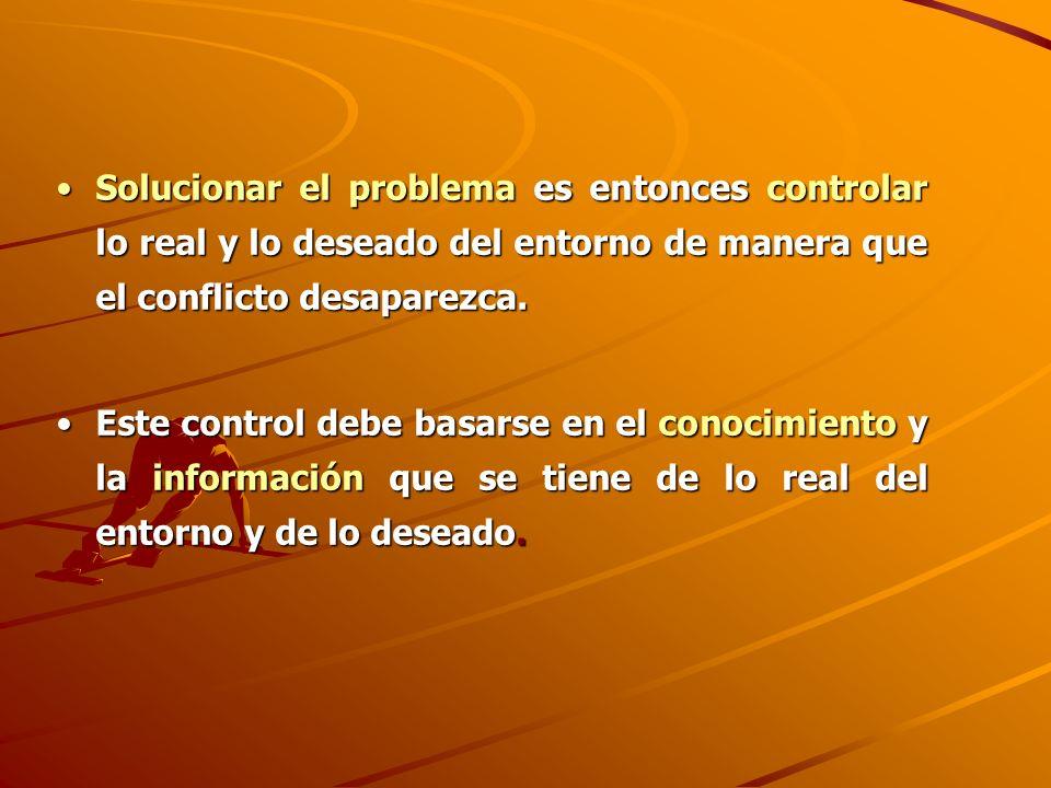 Solucionar el problema es entonces controlar lo real y lo deseado del entorno de manera que el conflicto desaparezca.Solucionar el problema es entonce