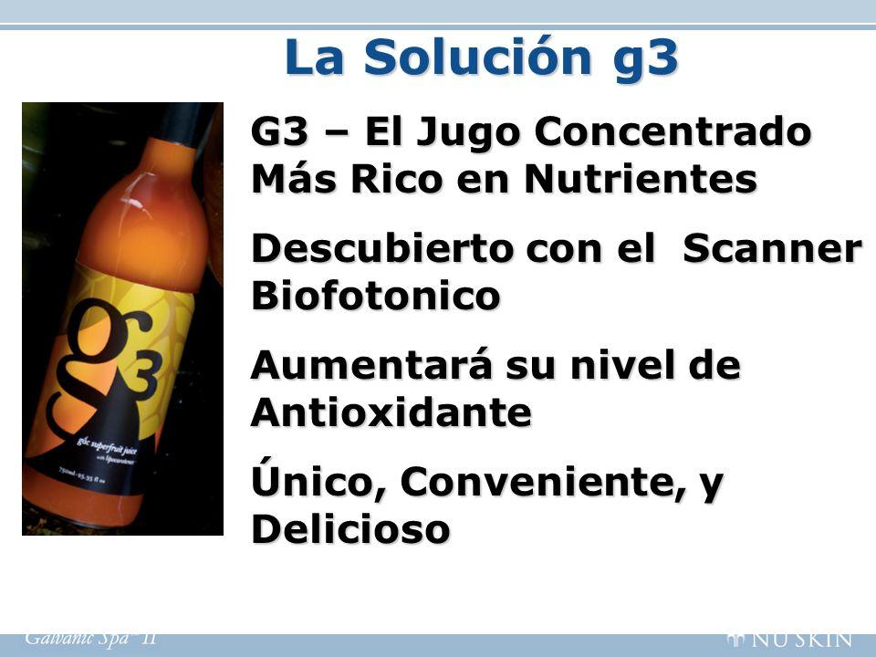 La Solución g3 G3 – El Jugo Concentrado Más Rico en Nutrientes Descubierto con el Scanner Biofotonico Aumentará su nivel de Antioxidante Único, Conven