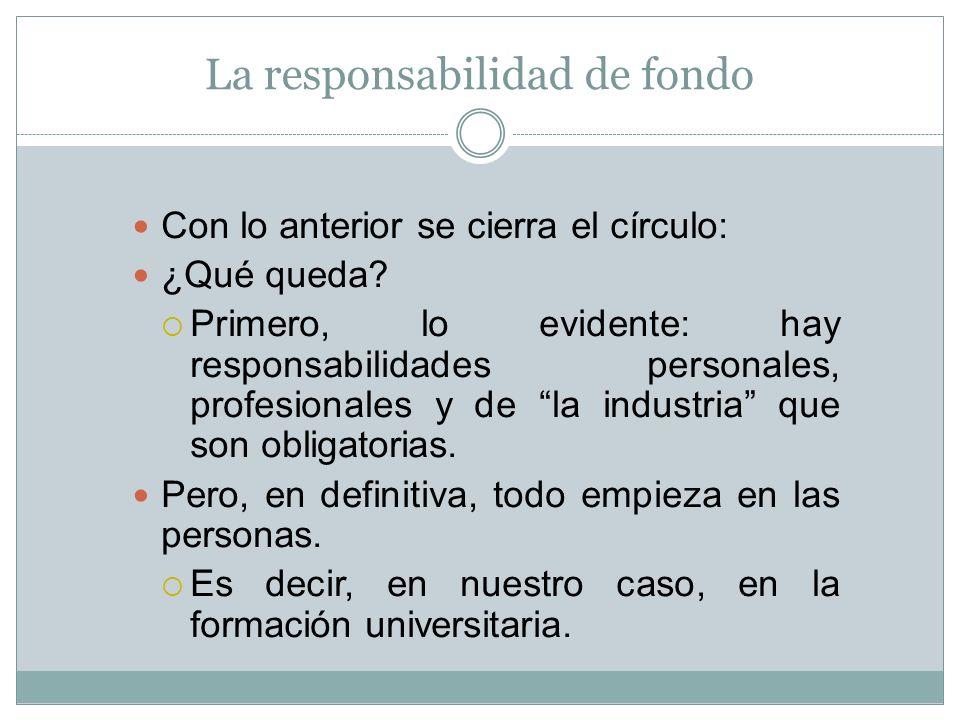 La responsabilidad de fondo Con lo anterior se cierra el círculo: ¿Qué queda? Primero, lo evidente: hay responsabilidades personales, profesionales y